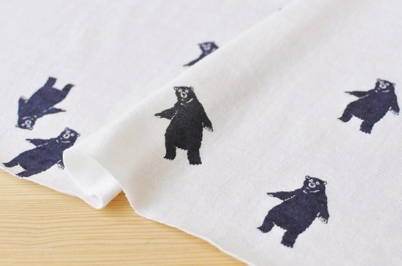 画像1: 24/-粗挽天竺 bear (ホワイト) (再入荷)